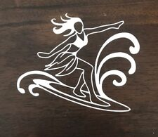Surfer Girl Sticker Decal - Hawaii Surf Tropical Waves Surfboard Beach Surfing