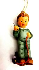 Berta Hummel Christmas Ornament Stringing Cranberries! 1998 Boy in Blue with Coa
