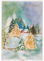 Acabado Brillante Tarjeta Postal Baby Vintage Navidad Años 70 País Abetos Lago