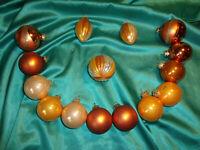 ~ Konvolut 15 alte Christbaumkugeln Glas orange kupfer Vintage Weihnachtskugeln