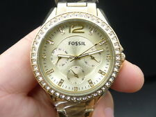 New Old Stock FOSSIL Riley ES3203 Daydate Gold Plated Quartz Women Watch