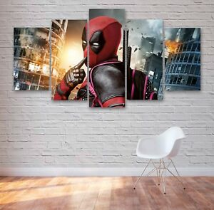 Deadpool Movie 5 Panel Canvas, Comedy, Wall Art, Picture, Painting, Print #034