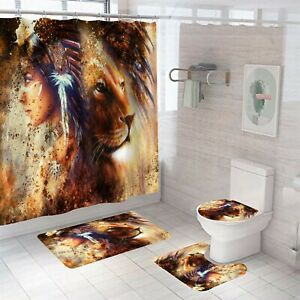 Woman and Lion Shower Curtain Bathroom Rugs Bath Mat Non-Slip Toilet Lid Cover