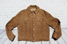 Vintage SCHOTT Bros Western Rancher Tan Suede Leather Trucker Jacket 46 Large
