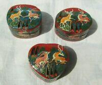 "2"" Handmade Paper Machie Box, Kashmir Painted Paper Mache Ring Box (Set of 3)"