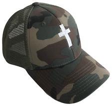 Christian Cross Mid Profile Mesh Trucker Cap Caps Hat Woodland Camouflage White
