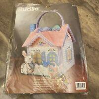 New Bucilla Needlecraft Easter Bunny House Basket Plastic Canvas Vintage 1996