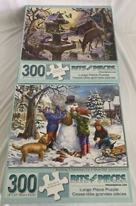 Lot of 2 Bits and Pieces Christmas/Winter 300 pc Jigsaw Puzzles Snowman, Sunrise