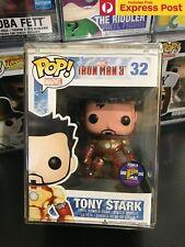 IRON MAN TONY STARK UNMASKED FUNKO POP VINYL FIGURE SDCC 2013 #32 BOX DAMAGE