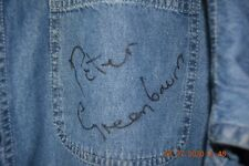 PETER GREEN AUTOGRAPHED 'MAN OF THE WORLD' DENIM PROMO SHIRT. NEW. LARGE