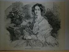 Gravure 19° Héléne Louise Elisabeth duchesse d'Orléans