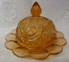 Vintage Butter/Cheese Covered Dome Dish Floral Depression Glass