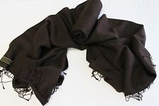 H232 NWT Chocolate Brown Pashmina Silk Shawl/ Wrap Hand Woven In Nepal