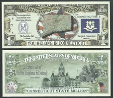Lot of 100 Bills - Connecticut State Million Dollar w Map, Seal, Flag, Capitol