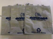 3 Gonzaga Bulldogs Reusable Green Shopping Grocery Bags NEW Gift NCAA