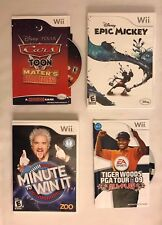 Wii Games Lot - Epic Mickey, Minute to Win It, Tiger Woods Golf, Cars Toon Mater