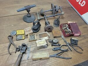 K209- Antique Jeweler's Watchmaker Tools Lot - Lathe & Other Tools