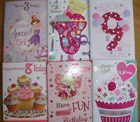 Girls Age birthday cards ~ 3rd 4th 5th 6th 7th 8th 9th teenager birthday cards