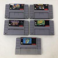 SNES GAMES LOT of 5 ~ Super NINTENDO WWF Super Mario World Bass Tennis Raiden 5B