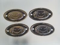 4 FRENCH STYLE BRASS BACK PLATE FOR DRAWER PULLS RECLAIMED FURNITURE HARDWARE
