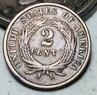 1865 Two Cent Piece 2C Ungraded Fancy 5 Good Civil War Era US Copper Coin CC7076