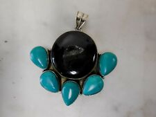 Black Agate Crystals Torquoise Teardrop Stone Retro Natural Necklace Pendant