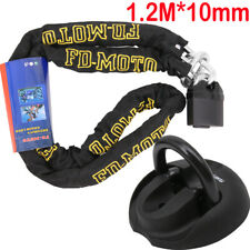 Motorbike Motorcycle CHAIN LOCK Scooter Padlock 1.2M Ground Anchor Black 4 Bolts