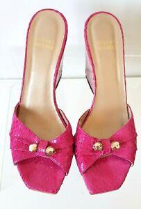 Stuart Weitzman Size 7.5 Pink Patent Leather Wedges Open Toe Mules Slides Sandal