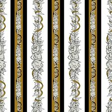Queen Bee Vine stripes on white 100% cotton fabric by the yard