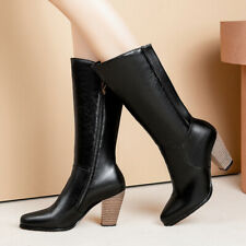 Women's Riding Boots Knee High Pointed Toe Block High Heels Booties Shoes US 6