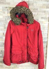 Hollister Ladies Size M Red Waterproof Faix Fur Trim Hooded Coat Jacket