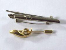 2 Broschen Silber und Gold mit Stein Modeschmuck Swarovski Geschenk