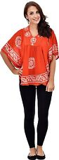 Womens Kimono Sleeve Poncho Dress Summer Casual Wear Orange Short Top Blouse