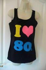 100% COTTON UK SIZE 12 **  I LOVE 80s ** Ladies Vest top * BLACK Neon* BRAND NEW