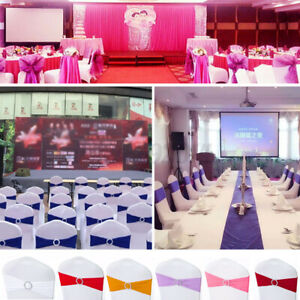 50X Elasticity Stretch Chair cover Band with Buckle Slider Sashes Bow Decor  ^