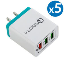 5x 30W 3-Port USB Wall Charger Double Quick 3.0 Ports For iPhone Samsung LG