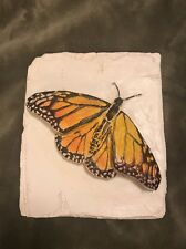 """7"""" Square Monarch Butterfly Wall Plaque Country Carver Al Pisano Sculpture"""
