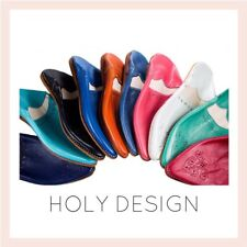 Women's Hole Design Moroccan Slippers, Babouches, Handmade Leather, Of Choice