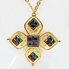Napier Galleria Maltese Cross Pendant Necklace Book Piece Swarovski Crystals Vtg