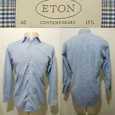 ETON Contemporary Size 40 -15 3/4 Long Sleeve Button Down Dress Shirt Blue Plaid