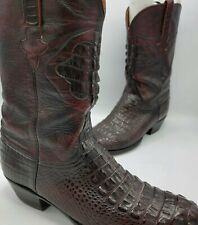 Lucchese Classic Inlay Crocodile Tail Cowboy BootsSize 13 D Dark Cherry Oxblood