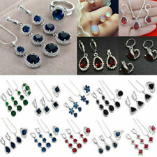 Wholesale Women 925 Silver Gemstone Topaz Necklace Rings Earrings Jewelry Sets