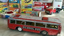 VINTAGE TIN TOY SCHOOL BUS VEHICLE  FRICTION 60's RED CHINA MF 887