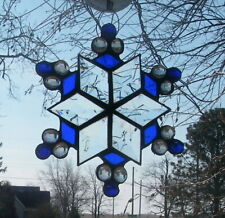 Beveled Glass Suncatcher Star or Snowflake Handmade With Cobalt Blue Accents
