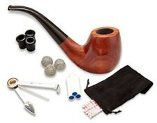 Free Boy Tobacco Pipe, Handmade Wooden Bent Smoking Pipe with Accessories (Filte