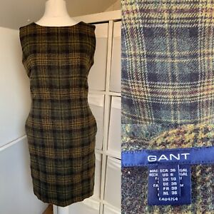 GANT Green Brown Tartan Shift Dress Size 10 100% Wool Checked Tweed Pockets
