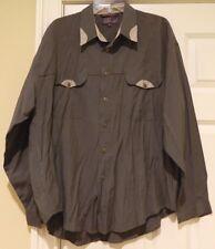 Bugatchi Uomo Rayon/Poly L/S Dual Flap Pocket Button Front Shirt Men's Sz XL!
