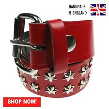 38mm Red Star Fitting Removable Buckle Press Stud Belt Handmade In England