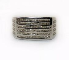 18k Solid White Gold 0.75 Ct Natural Diamond Mens Ring Six Rows Wide Size 7.5