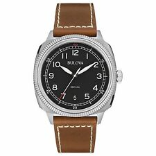 Bulova 96B230 Men's Military Analog Display 42mm Black Dial Brown Leather Watch